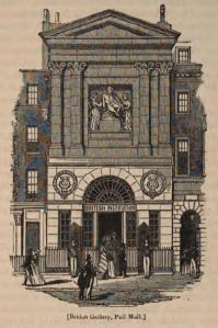British Gallery, Pall Mall (engraving of the British Institution building at 52 Pall Mall, London, formerly John Boydell's Shakespeare Gallery) Date 1851