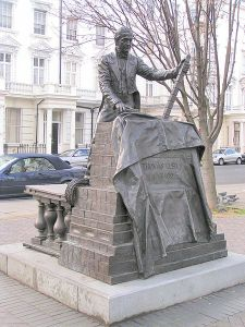 Statue of Thomas Cubitt by William Fawke, 1995. Denbigh Street, London. The twin to this statue can be found in Dorking, Surrey.