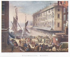 Billingsgate Market: This engraving was published as Plate 9 of Microcosm of London (1808)