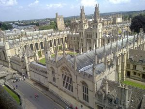 A view of All Souls College, looking east from the University Church of St Mary the Virgin