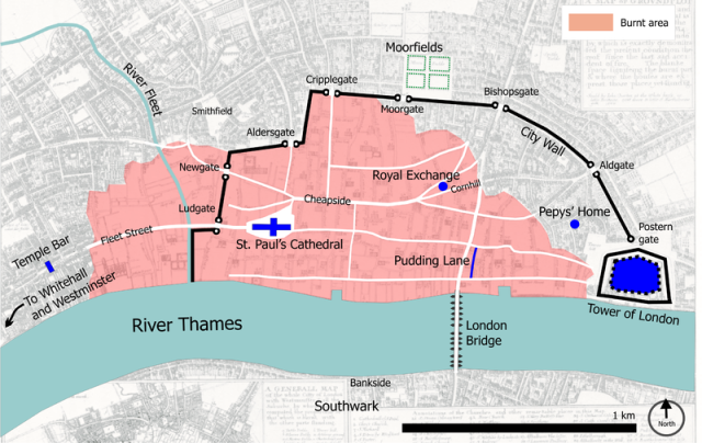 Central London in 1666, with the burnt area shown in pink.