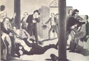 A painting depicting the assassination of Perceval. Perceval is lying on the ground while his assassin, John Bellingham, is surrendering to officials (far right)