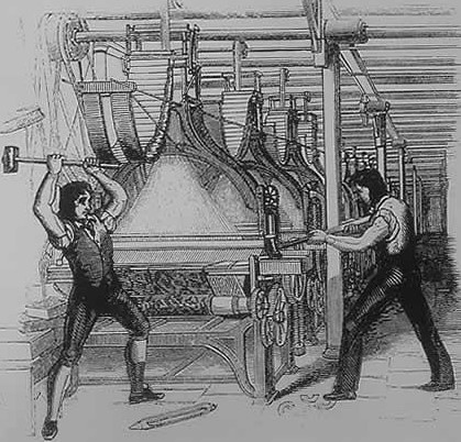 Later intrepretation of Machine Trashing (1812), showing two men superimposed on an 1844 engraving from the Penny magazine which shows a post 1820s Jacquard loom.