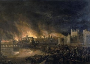 """""""This painting shows the great fire of London as seen from a boat in vicinity of Tower Wharf. The painting depicts Old London Bridge, various houses, a drawbridge and wooden parapet, the churches of St Dunstan-in-the-West and St Bride's, All Hallow's the Great, Old St Paul's, St Magnus the Martyr, St Lawrence Pountney, St Mary-le-Bow, St Dunstan-in-the East and Tower of London. The painting is in the [style] of the Dutch School and is not dated or signed."""" The painting itself is thought to be from the 17th century, and so in the public domain."""