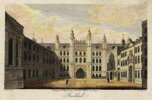 The Guildhall complex in c.1805. The buildings on the right and left have not survived.
