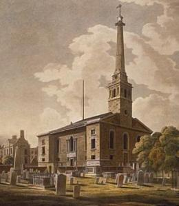 St. John's Horsleydown (1727–33), joint work with John James, tower by Hawksmoor, bombed in London Blitz then demolished
