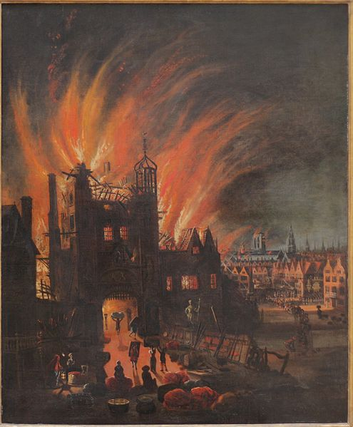 Ludgate in flames, with St. Paul's Cathedral in the distance (square tower without the spire) now catching flames. Oil painting by anonymous artist, ca. 1670.