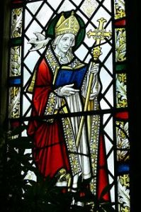 Stained glass, Our Lady and Saint Non's chapel, St Davids, Wales, 1934