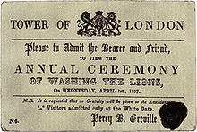 """An 1857 ticket to """"Washing the Lions"""" at the Tower of London in London. No such event ever took place."""