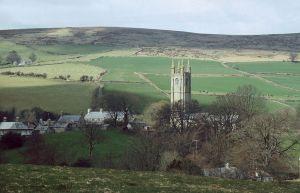 The tower of Widecombe church today