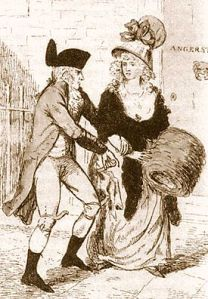 1 May 1790, artist's depiction of the London Monster attacking a woman. The likeness was created from various reports from alleged victims and before the arrest of Rhynwick Williams.
