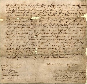 Last section of the third side handwritten 1616 will of William Shakspeare - only the signature written by Shakspeare