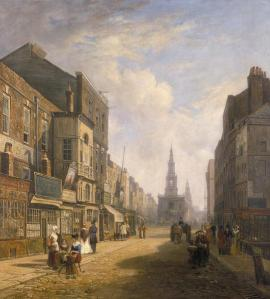 The Strand, Looking Eastwards from Exeter Exchange (1822). The church in the distance is St Mary le Strand with St Clement Danes behind.