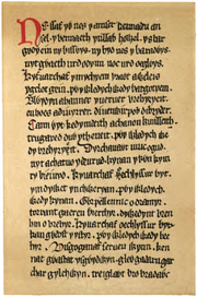 Facsimile of part of column 579 from the Red Book of Hergest