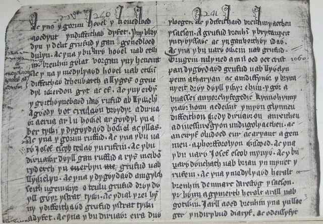 Llyfr Coch Hergest 240-241~ Hywel Fychan fab Hywel Goch of Buellt - The Red Book of Hergest (1375 - 1425)