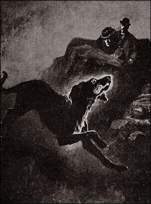Sidney Paget's illustration of The Hound of the Baskervilles. The story was inspired by a legend of ghostly black dogs in Dartmoor.