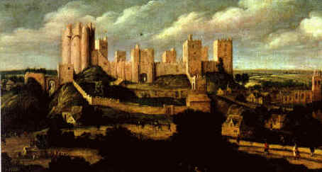 Painting of Pontefract Castle in the early 17th century by Alexander Keirincx - circa 1620 Pontefract Castle in Pontefract, West Yorkshire (England)