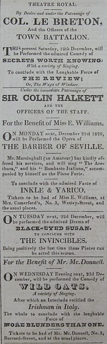 Black-Eyed Susan on the bill of the Theatre Royal, Jersey, in December 1829