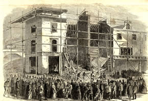 A jerry built house on Amhurst Road collapses, as reported in the London Illustrated News, 1862. © Hackney Archives