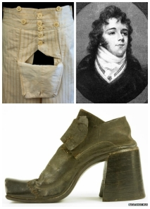 Flat front opening for britches; Beau Brummell; high heeled shoes for men