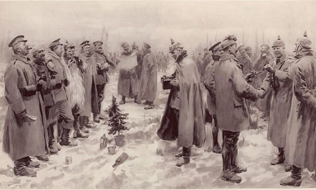 "A. C. Michael - The Guardian  Originally published in The Illustrated London News, January 9, 1915. The Illustrated London News's illustration of the Christmas Truce: ""British and German Soldiers Arm-in-Arm Exchanging Headgear: A Christmas Truce between Opposing Trenches"" The subcaption reads ""Saxons and Anglo-Saxons fraternising on the field of battle at the season of peace and goodwill: Officers and men from the German and British trenches meet and greet one another—A German officer photographing a group of foes and friends."" (via Wikipedia)"