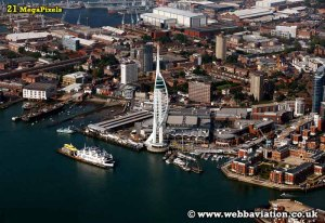 www.webbaviation.co.uk Spinnaker Tower and waterffront at Portsmouth - aerial photograph cb04978.jpg