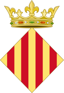 Royal arms of Aragon, lozenge-shaped and crowned. CC BY-SA 3.0