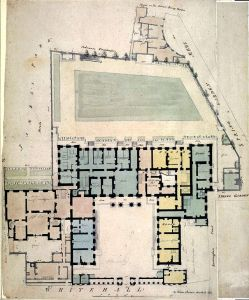 More details The Admiralty complex in 1794. The colours indicate departments or residences for the several Lords of the Admiralty. The pale coloured extension behind the small courtyard on the left is Admiralty House. View author information [Public Domain Uploaded by Ian Dunster]