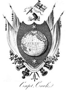 The coat of arms of James Cook granted by King George III to Cook's widow in 1785, to be borne by his descendants and 'placed on any monument or otherwise to his memory.' (Public Domain)