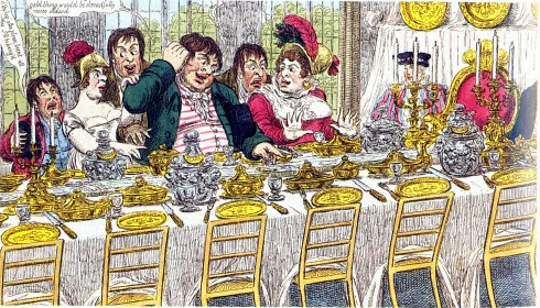 Gillray's take on the Prince Regent's fete decor: admiring the table-top canal. The public were invited to view the party decorations after it all was over. http://zipzipinkspot.blogspot.com/2014/08/journal-journey-into-year-1811-la-belle.html