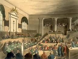 """The Old Bailey, Known Also as the Central Criminal Court"" Date 1808 SourceAckermann, Rudolph; Pyne, William Henry; Combe, William (1904) [1808] ""Old Bailey"" in The Microcosm of London: or, London in Miniature, Volume 2, London: Methuen and Company Retrieved on 9 January 2009. Public Domain"