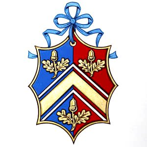 This curved octagon is a lozenge adapted to provide an area in which it is easier to arrange the charges. The original arms of Baroness Thatcher: Per chevron, Azure and Gules.  A double key in chief between two lions combatant; a tower with portcullis in base, all Or.. Crest. A Baron's coronet. Motto:.Cherish Freedom. Supporters: Dexter:  An admiral of the British Navy. Sinister:  Sir Isaac Newton, both proper. http://www. internationalheraldry.com