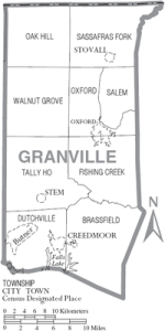 Map of Granville County, North Carolina With Municipal and Township Labels ~ Public Domain