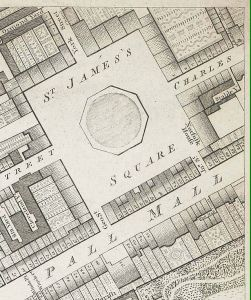 Pall Mall and St James's Square shown in Richard Horwood's map of 1799. - Public Domain - Wikipedia