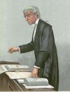A 1903 caricature of Robert McCall KC (formerly QC) wearing his court robes at the Bar of England and Wales. For court, he wears a short wig, and bands instead of lace at the collar, but he retains the silk gown and court tailcoat worn on ceremonial occasions. Public Domain. Leslie Ward - Published in Vanity Fair, 19 November 1903.  http://en.wikipedia.org/ wiki/Queen's_Counsel #/media/File:QC_Court_ robes_crop.jpg