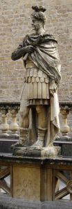 Photo of the statue of Gnaeus Julius Agricola erected in 1894 at the Roman Baths