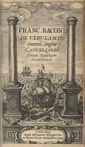 The title page illustration of Instauratio magna Francis Bacon (author) - *EC.B1328.620ib, Houghton Library, Harvard University Houghton Library at Harvard University   Location Cambridge, Massachusetts - Public Domain