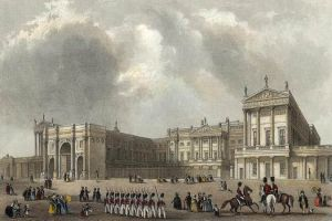 Buckingham Palace c.  1837 with the Marble  Arch in its original  position. Public Domain - Wikipedia File:Buckingham Palace engraved by J.Woods after Hablot Browne & R.Garland publ 1837 edited.jpg