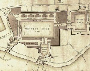 A map of the London Docks in 1831. Henry Robinson Palmer - This file comes from the Bodleian Libraries, a group of research libraries in Oxford University. ~ Public Domain  en.wikipedia.org/wiki/ London_Docks#/media/  File:Plan_of_London_ Docks_by_Henry_Palmer_ 1831.JPG