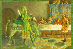 "eng431 [licensed for non-commercial use only] / Religion in Sir ... eng431.pbworks.com The Pear Poet's ""Sir Gawain and the Green Knight"" is a complex poem that introduces two different courts to the reader."