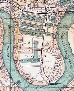 Map of the Isle of Dogs showing the docks from The Pocket Atlas and Guide to London, 1899 ~ Public Domain  https://en.wikipedia.org/ wiki/West_India_Docks