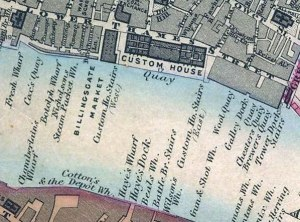 Map of London's Legal Quays (on the north bank) in 1862 Edward Stanford - http://www.mappalondon.com/london/north-east/tower-london-map.htm Location of the quays from Fresh Wharf to Tower Dock Stairs, as indicated in the 1862 Edward Stanford map of London ~ Public Domain