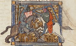 Yvain unwittingly battles Gawain, from Chrétien's Yvain, the Knight of the Lion ~ Public Domain via Wikipedia
