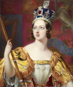 "This state portrait of Queen Victoria by George Hayter (detail), shows her wearing the new Imperial State Crown ""expressly made for the solemnity of the Coronation"" by Rundell, Bridge & Co., with 3,093 gems. George Hayter - http://www.gac. culture.gov.uk/ search/Object.asp?object_key=29134 - Public Domain"
