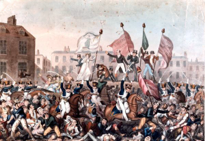A depiction of the Peterloo Massacre by Richard Carlile – Public Domain