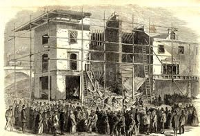A jerry built house on Amhurst Road collapses, as reported in the London Illustrated News, 1862. © Hackney Archives (via Wikipedia)