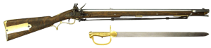 The British Baker rifle seen with sword bayonet Antique Military Rifles - Derivative work of Baker Rifle; originally posted to Flickr CC BY-SA 2.0