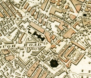 """King's Bench Prison and Horsemonger Lane Gaol section of """"Improved map of London for 1833, from Actual Survey. Engraved by W. Schmollinger, 27 Goswell Terrace"""" https://en.wikipedia.org/ wiki/Horsemonger_Lane_ Gaol"""