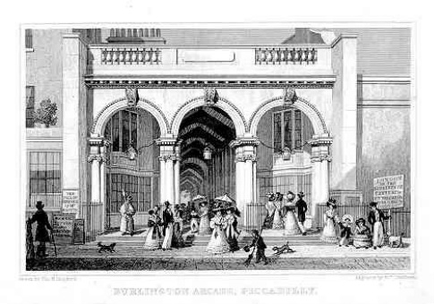 The Burlington arcade as it appeared about 1827, Thomas Hosmer Shepherd http://www.ultimatehistoryproject.com/a-shopping-extravaganza.html