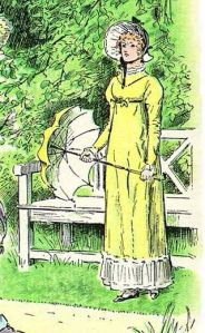 "Elizabeth Bennet, a fictional character appearing in the novel Pride and Prejudice, depicted by C. E. Brock Scans from the book at Pemberley.com ~ Public Domain ~ Detail of C. E. Brock illustration for the 1895 edition of Jane Austen's novel Pride and Prejudice (Chapter 56) showing Elizabeth Bennet outdoors in ""walking dress"", with bonnet and parasol. en.wikipedia.org/ wiki/Elizabeth_Bennet"